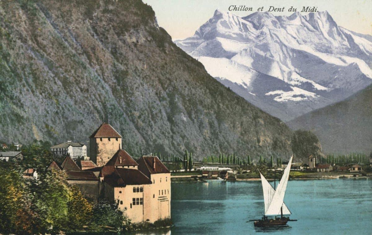 Carte postale. Chillon et Dent du Midi