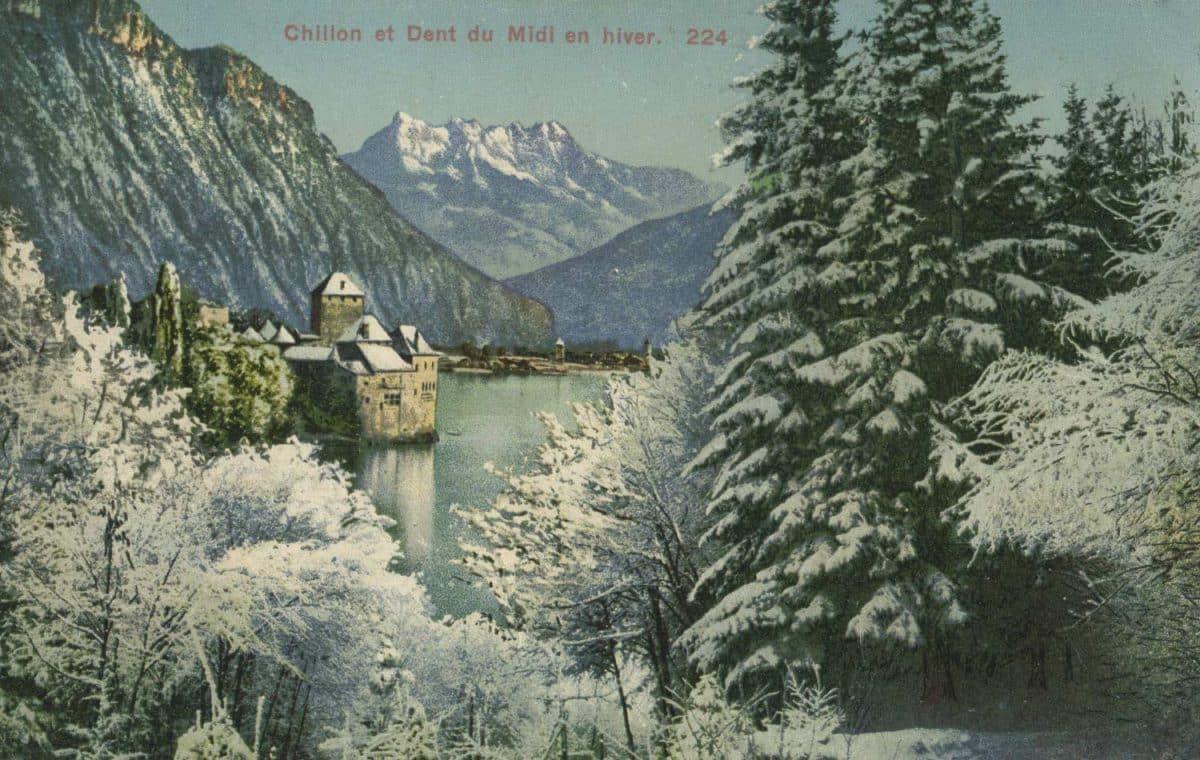 Carte postale. Chillon et Dent du Midi en hiver