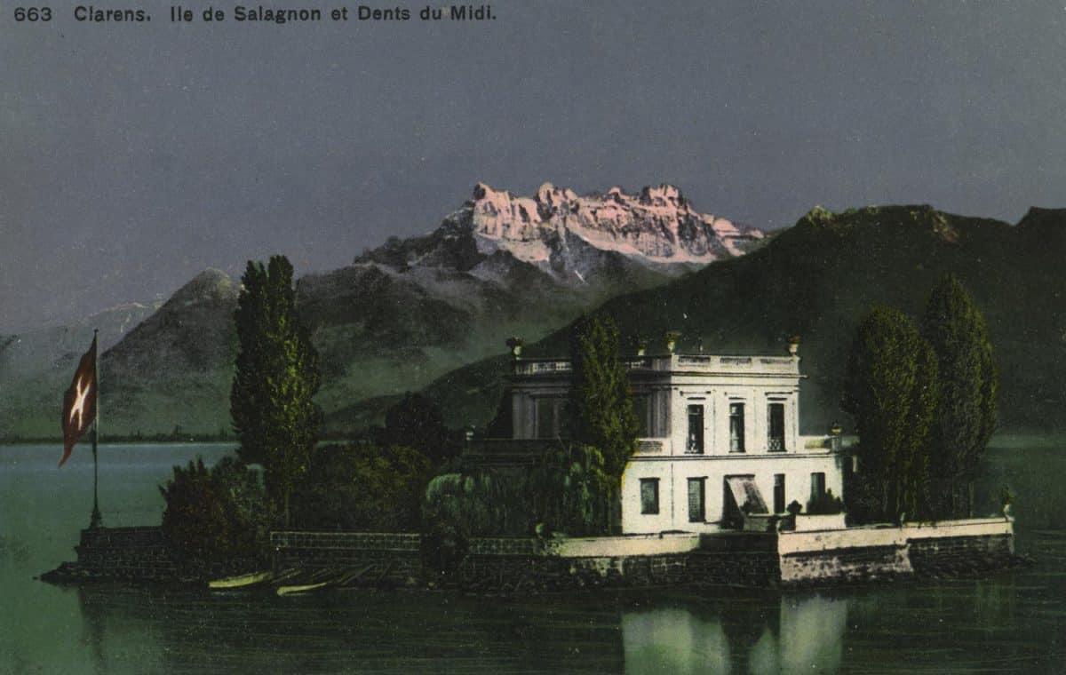 Carte postale. Clarens. Île de Salagnon et Dents du Midi