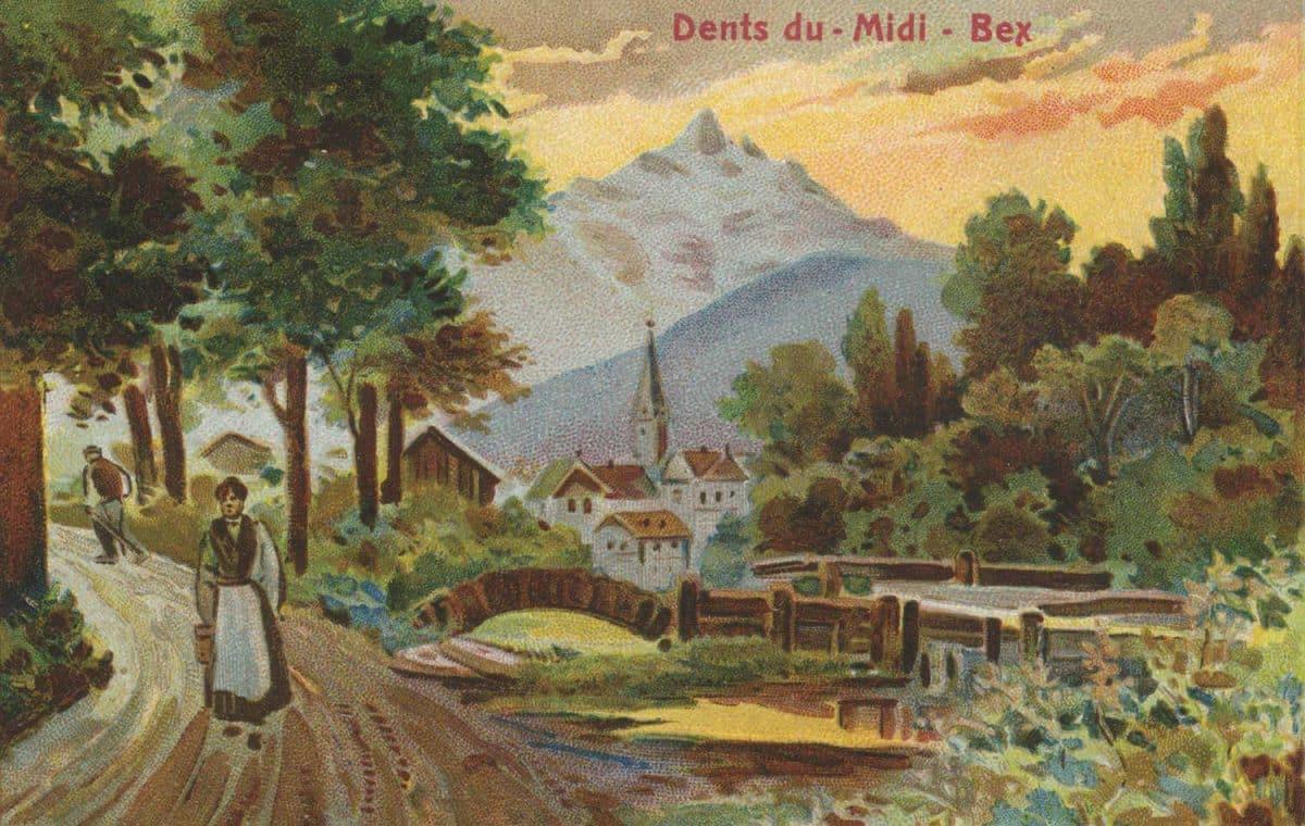 Dessin, Dents du Midi - Bex, Cailler Swiss milk-Chocolate