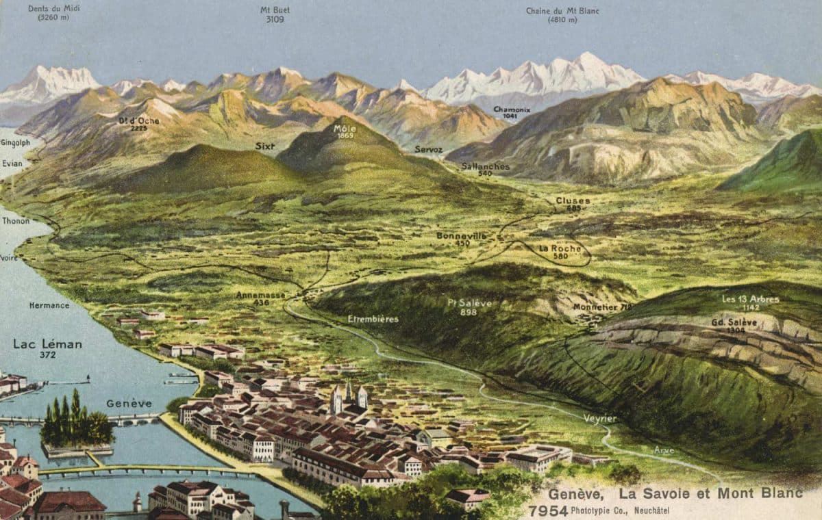 Carte postale, Genève, La Savoie et Mont Blanc