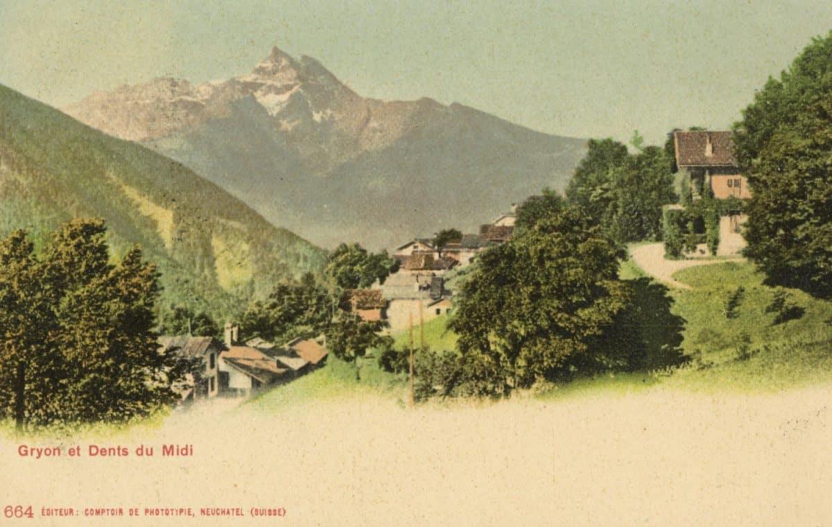 Carte postale. Gryon et Dents du Midi
