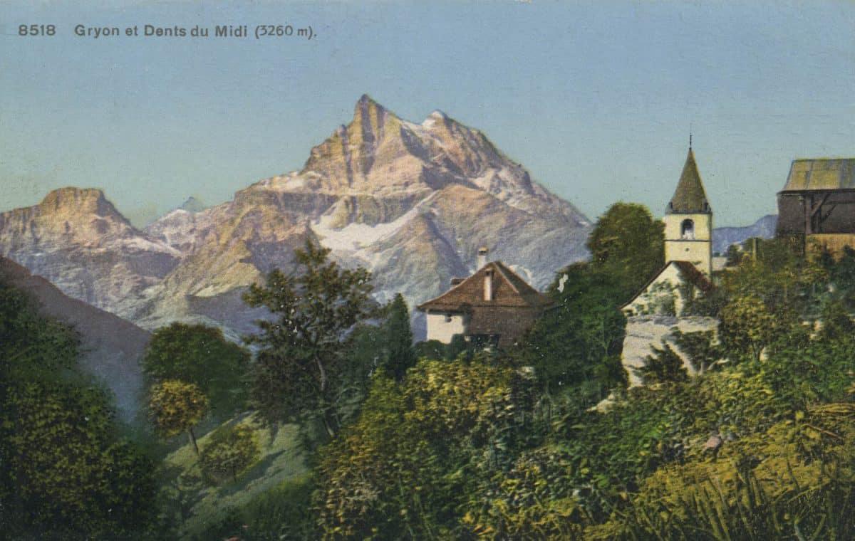Carte postale. Gryon et Dents du Midi (3260m)