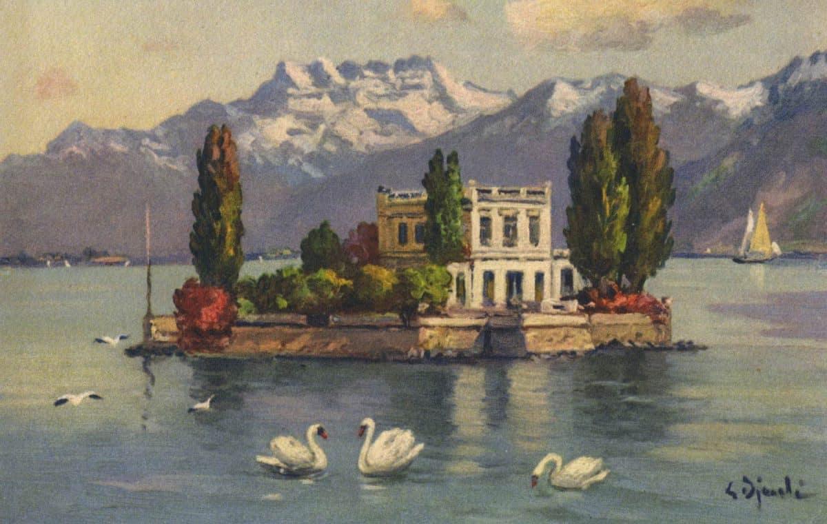 Carte postale, peinture. Île de Salagnon et les Dents du Midi