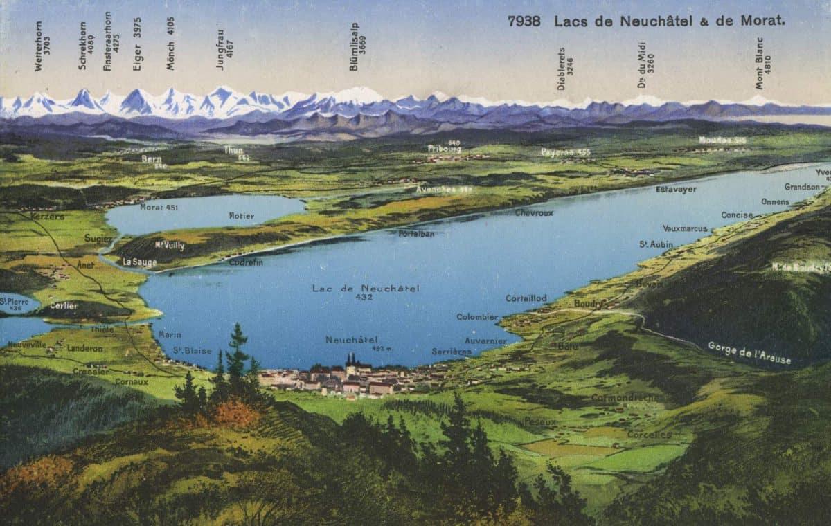 Carte postale, Lacs de Neuchâtel & de Morat