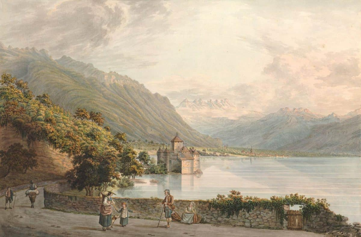 Gravure. Le Chateau de Chillon en Alant de Vevey à Villeneuve