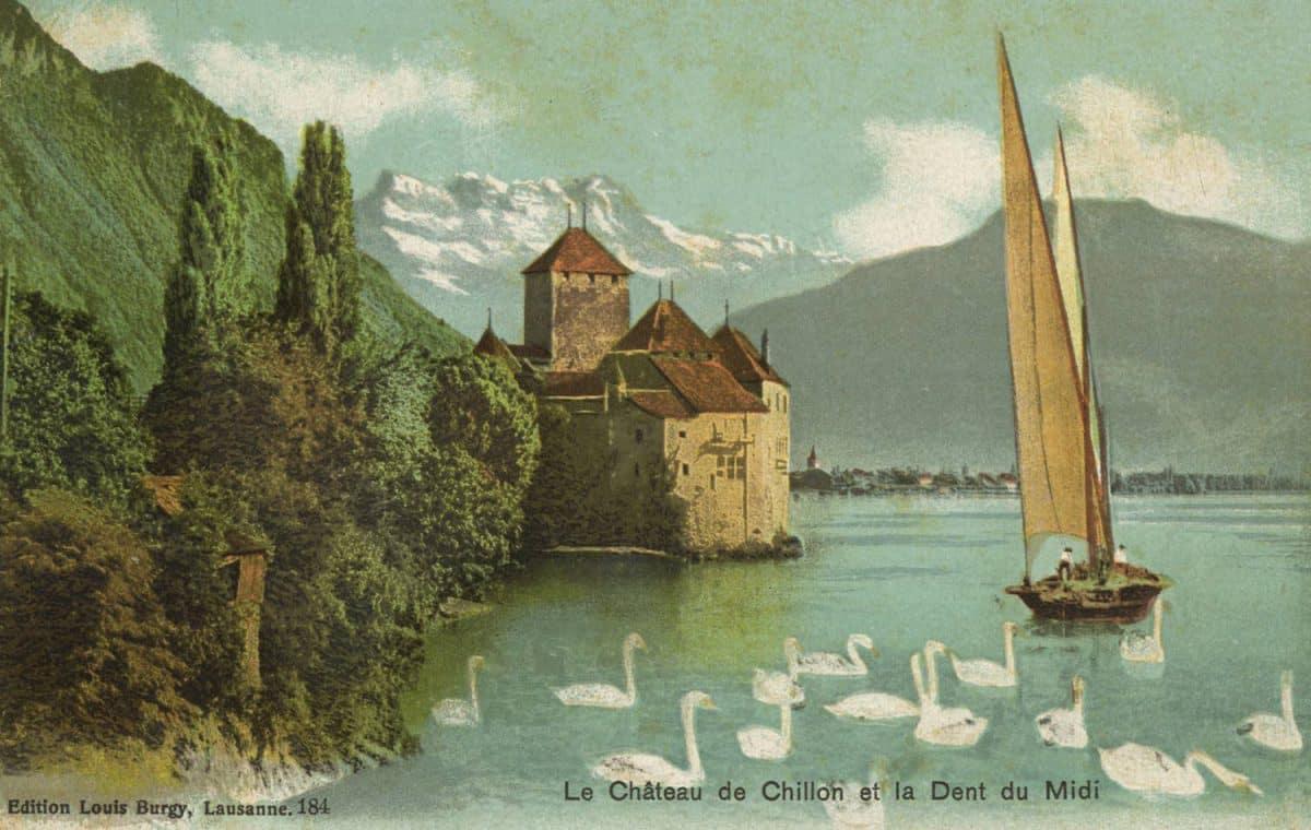 Carte postale. Le château de Chillon et la Dent du Midi