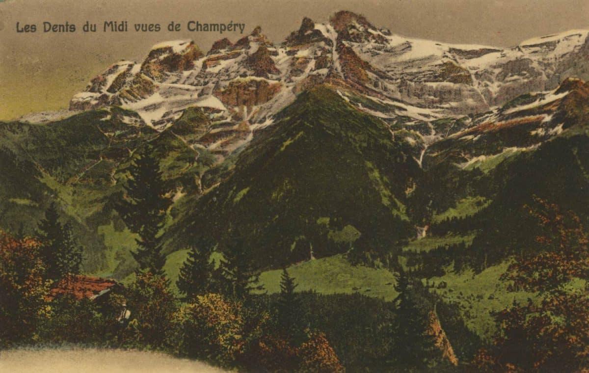 Carte postale. Les Dents du Midi vues de Champéry