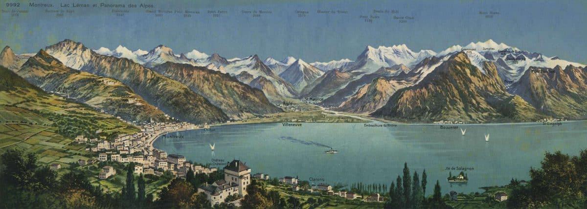 Carte postale panoramique. Montreux. Lac Léman et panorama des Alpes