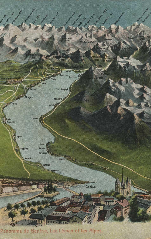 Carte postale, Panorama de Genève, Lac Léman et les Alpes