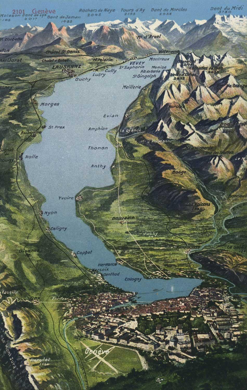 Carte postale, Panorama du Lac Léman