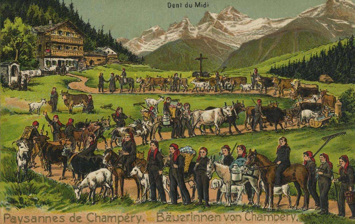 Carte postale. Paysannes de Champéry