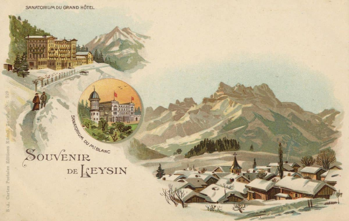 Carte postale. Souvenir de Leysin. Sanatorium du Mont-Blanc, Sanatorium du Grand Hôtel