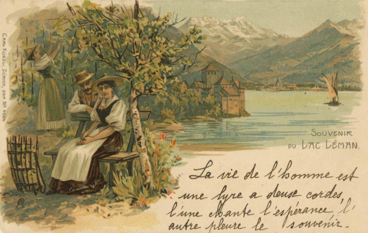 Carte posatale, Souvenir du Lac Léman