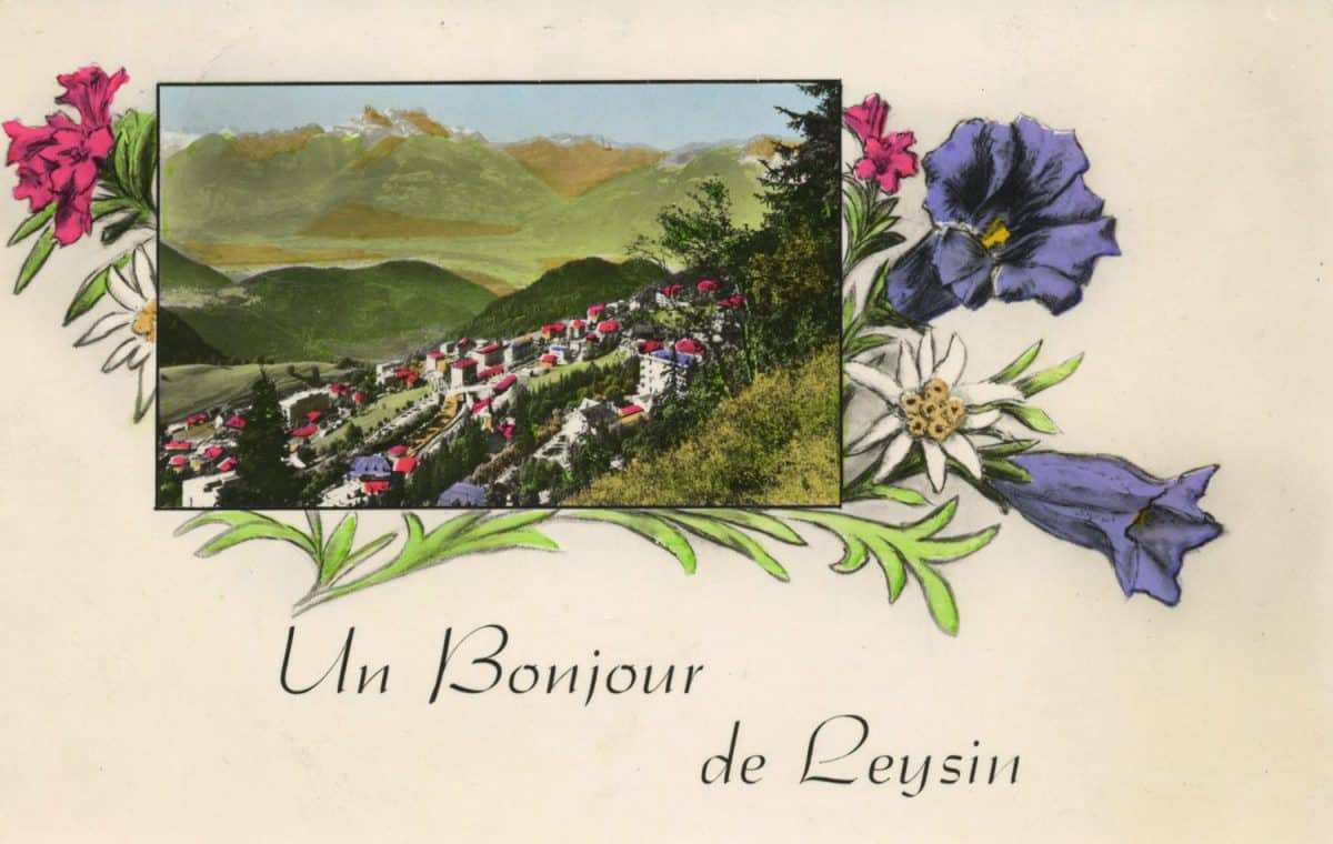 Carte postale. Un bonjour de Leysin