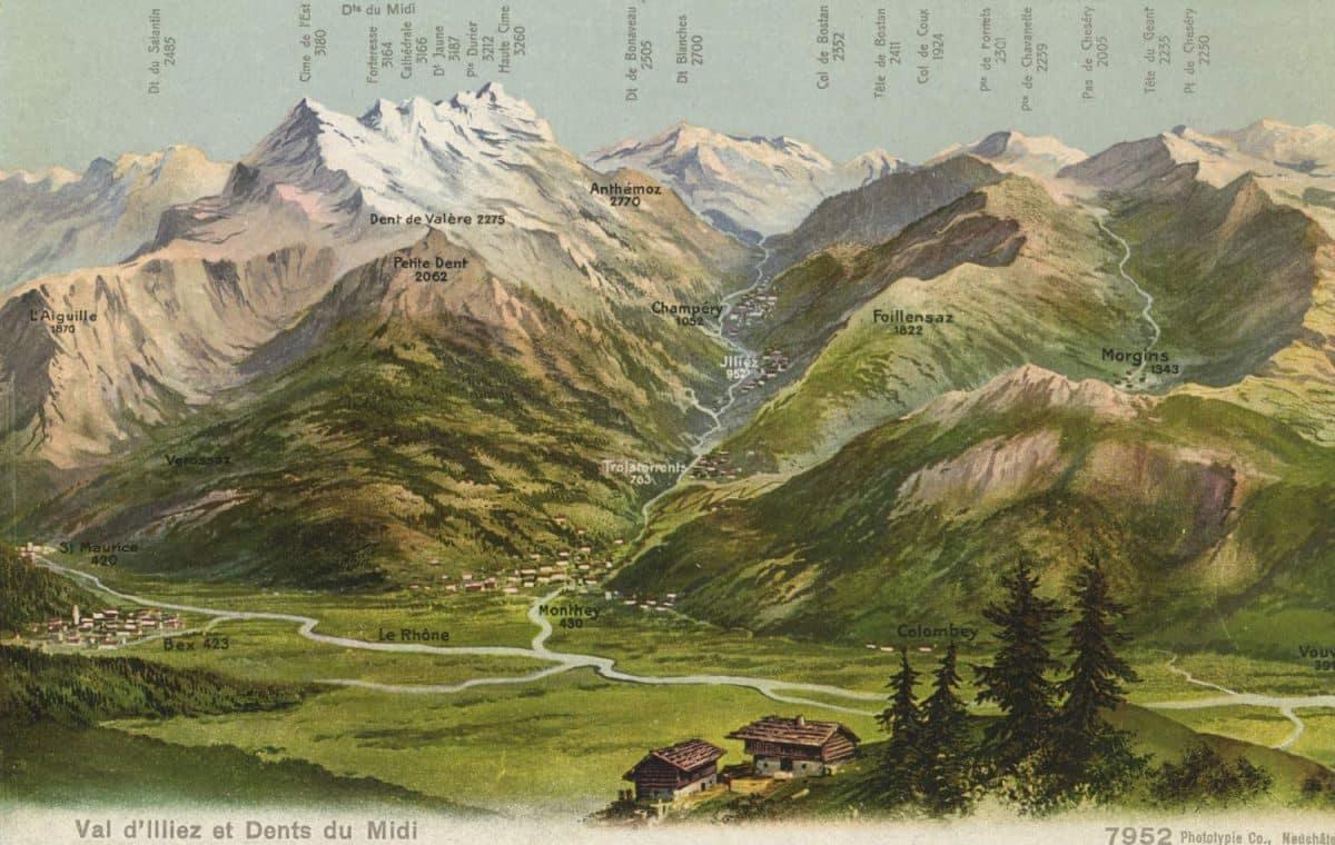 Carte postale, Val d'Illiez et Dents du Midi