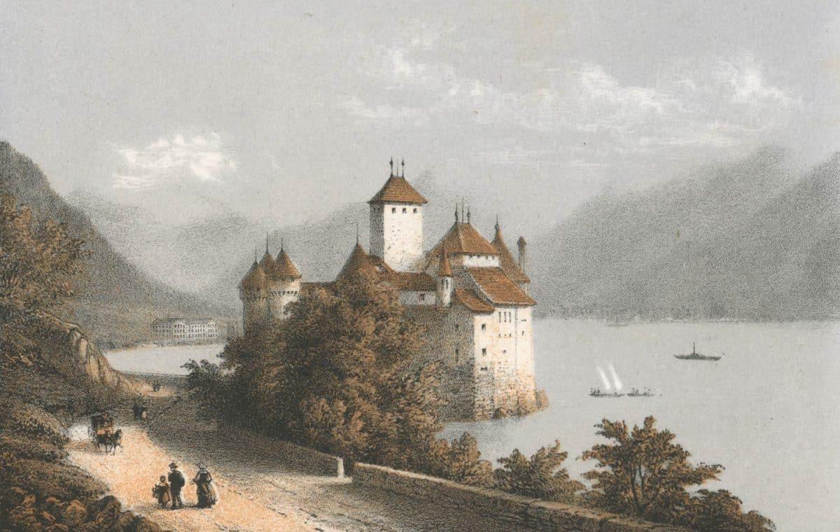 Gravure. Souvenir de Montreux, Chillon