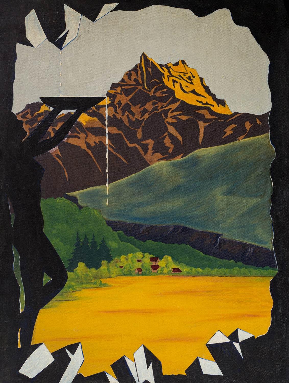 """Peinture sur carton. Aimé Desarzens, projet d'affiche 1er prix du concours """"Bex-les-Bains"""", organisé par le S.I.D., 1951 (jamais exécuté faute de moyens)"""