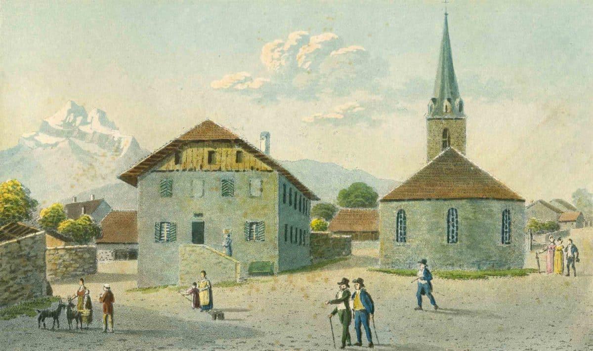 Gravure. L'église et la cure de Bex