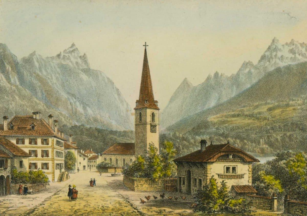 Gravure. Bex vers 1840. Dessiné par E.Lafon et gravée par A. Cuvillier