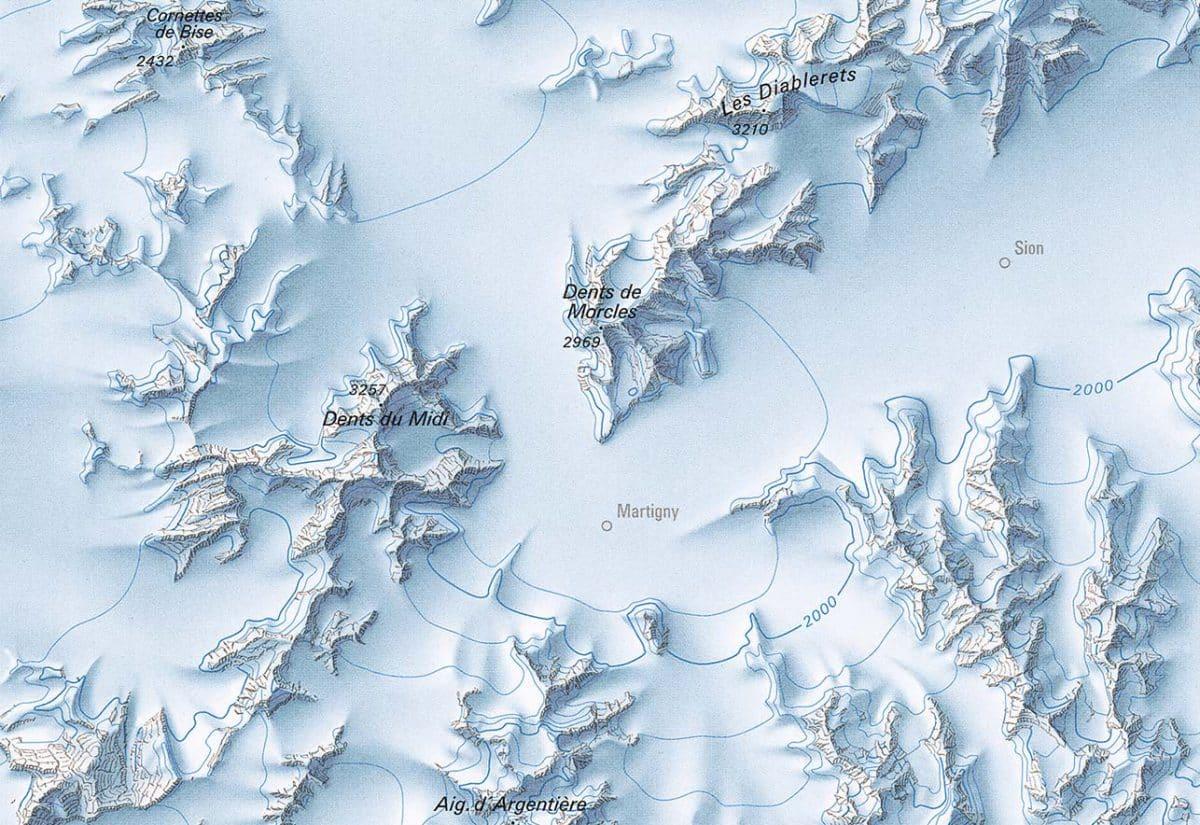 Trois histoires géologiques. Cette carte au 1:500 000 représente la plus grande extension des glaciers en Suisse lors de la culmination de la dernière période glaciaire, il y a environ 24'000 ans. Elle présente les derniers résultats de la recherche glaciaire avec un rendu cartographique de haute qualité