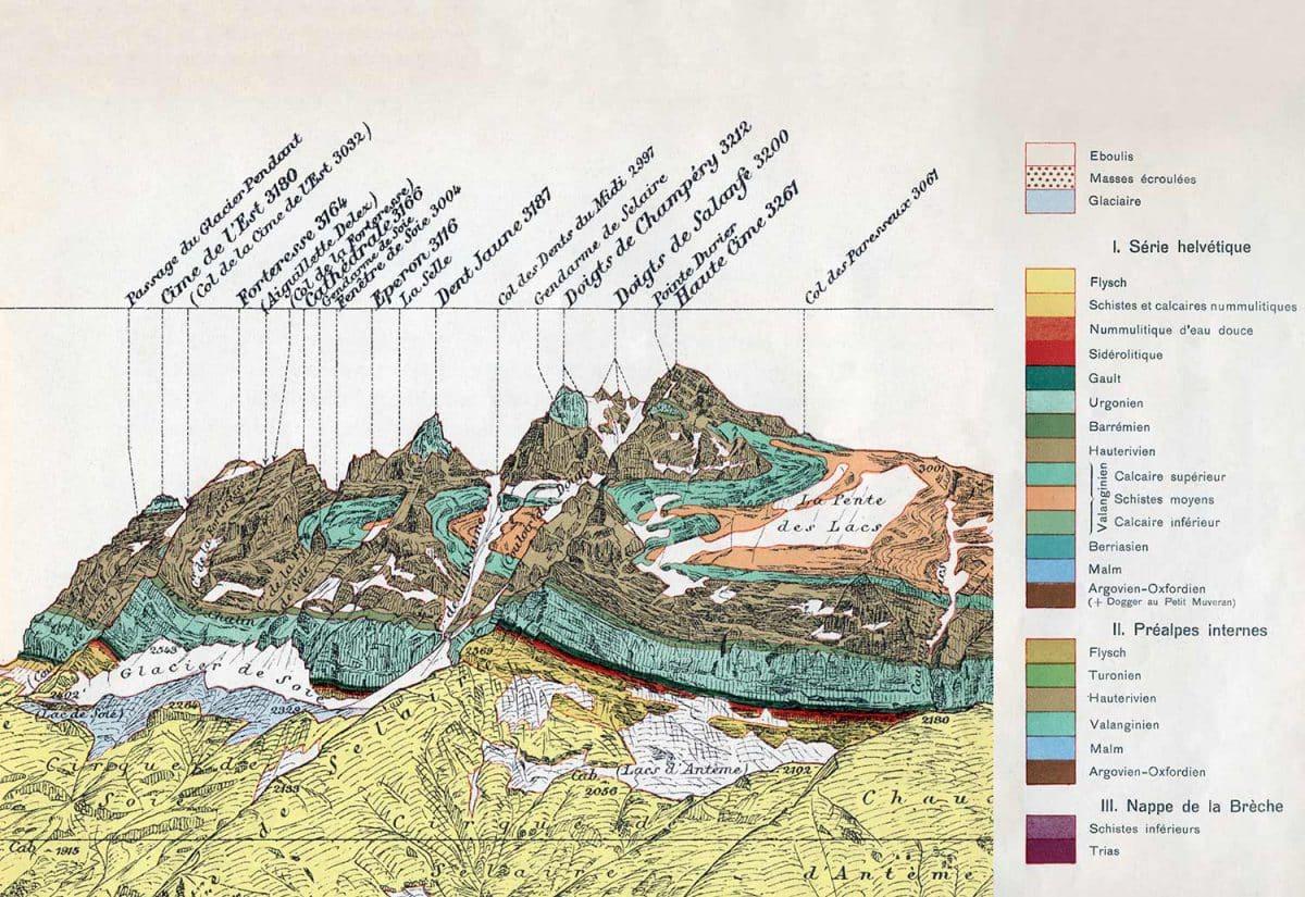 Trois histoires géologiques. Reproduction partielle de la Dent du Midi aux Dents Blanches de Champéry vue de la Croix de Culet, Altitude 1966 mètres (Matériaux pour la Carte géologique de la Suisse