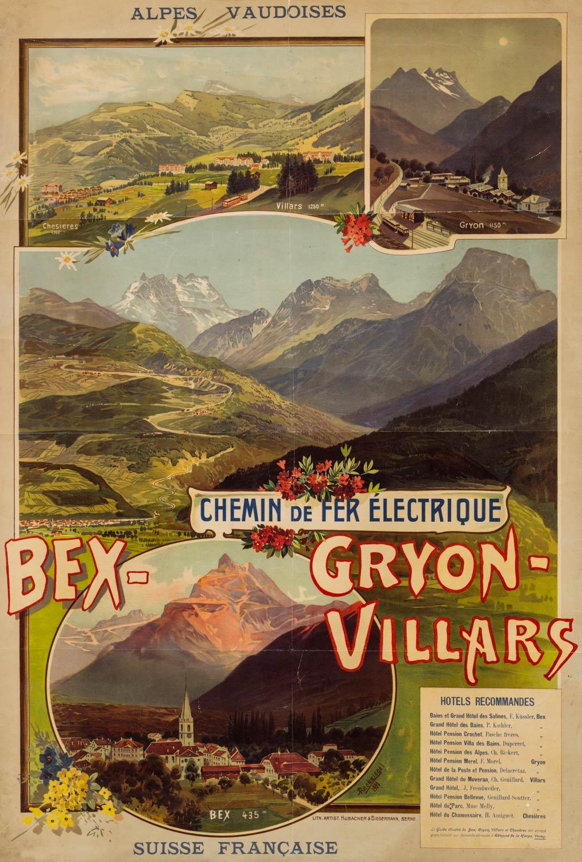 Affiche. Chemin de fer électrique Bex-Gryon-Villars