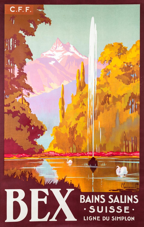 Affiche, Bex. Bains salins, Suisse, Ligne du Simplon