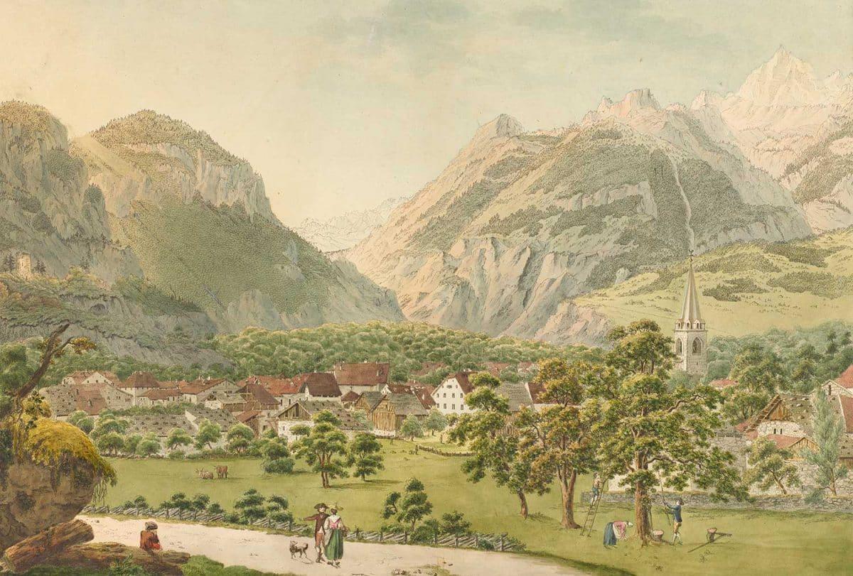 Gravure, Le village de Bex, l'un des quatre Mandement d'Aigle