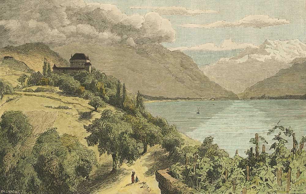 Gravure. Château du Châtelard, Haut-Lac et Dent du Midi, vers 1880