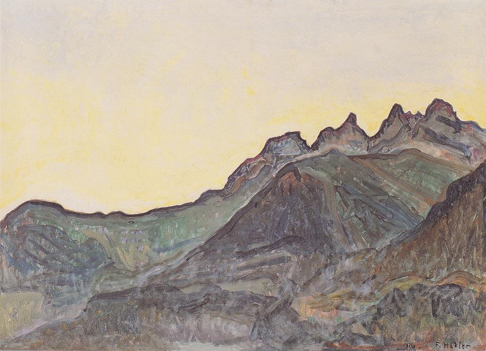 """""""Les Dents du Midi"""", 1916. Huile sur toile 65,5 x 81cm. Collection Musée d'art et d'histoire de Neuchâtel"""