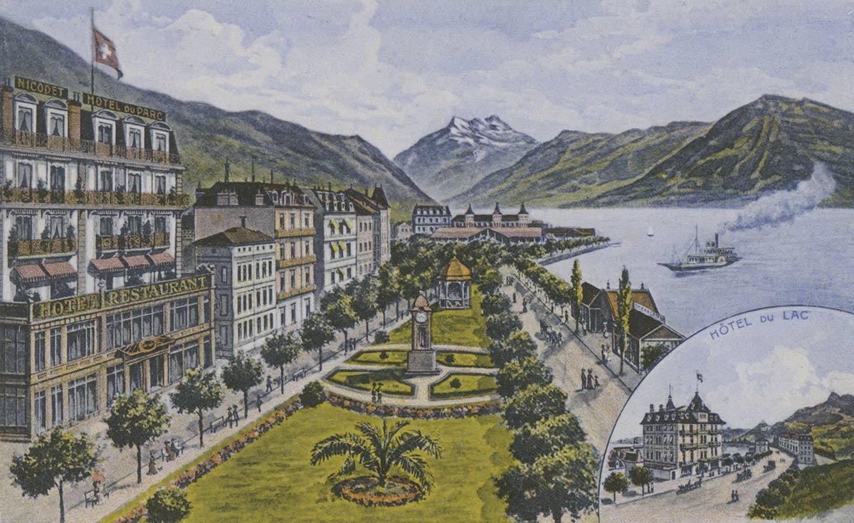 Carte postale. Hôtel du Parc et du Lac, Montreux