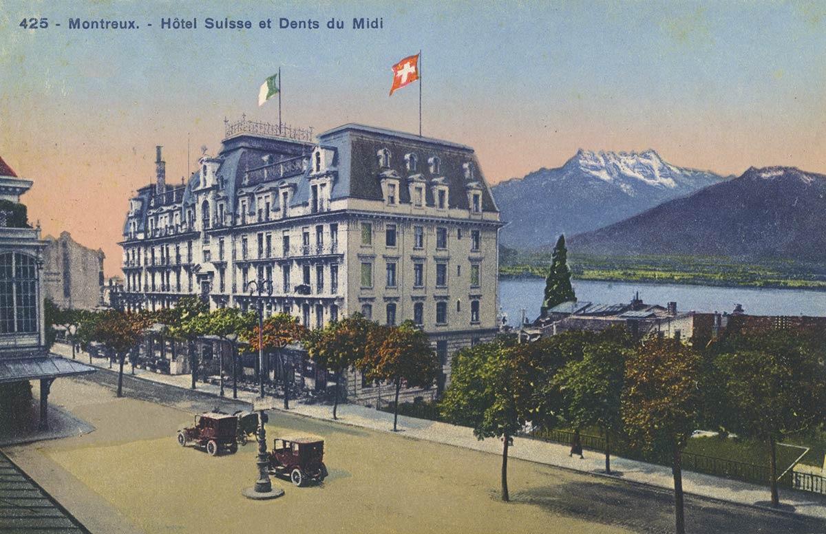 Carte postale. Montreux - Hôtel Suisse et Dents du Midi