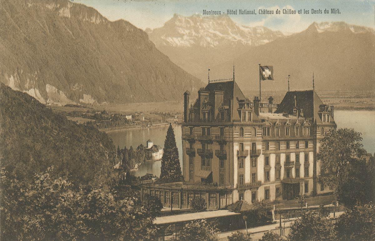 Carte postale. Montreux - Hôtel National, Château de Chillon et les Dents du Midi