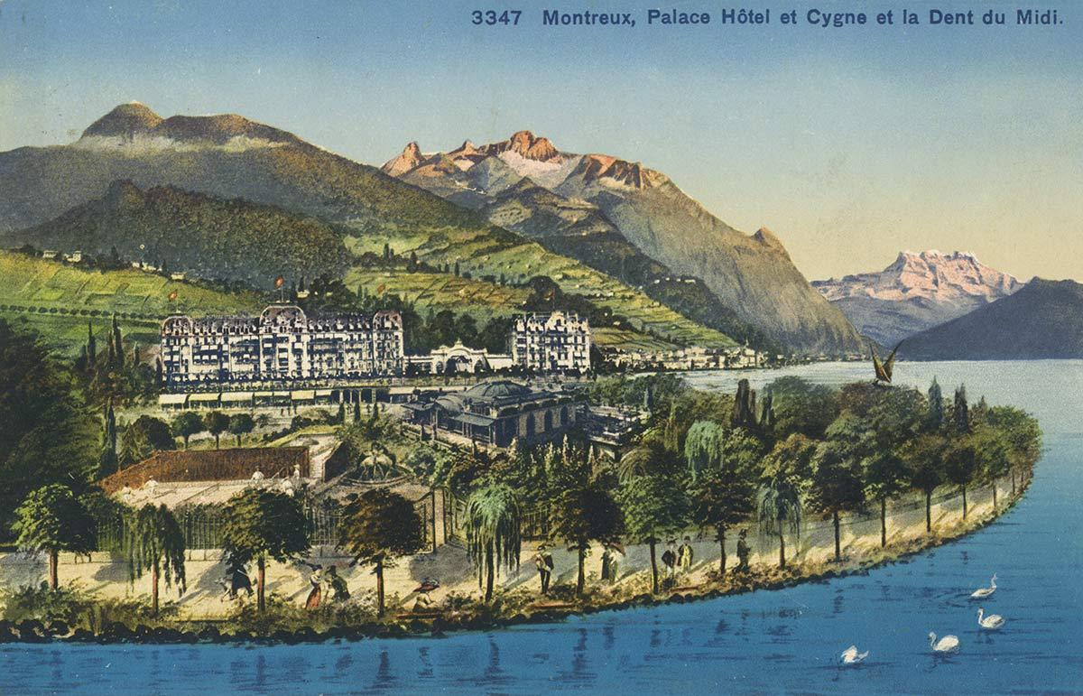 Carte postale. Montreux, Palace Hôtel et Cygne et la Dent du Midi