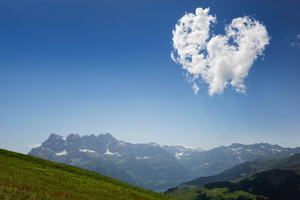 Les Dents du Midi depuis la montée vers la Pointe de Bellevue. © Laurent Dubois, 1144 Ballens, Suisse