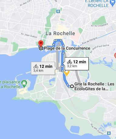 Plan pour se rendre à la plage de la Concurrence à la Rochelle