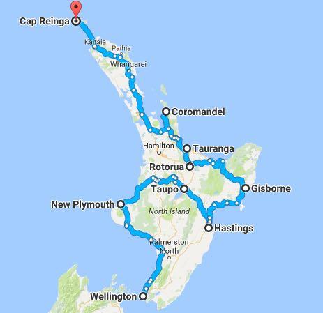 carte de l'île du nord de nouvelle-zélande