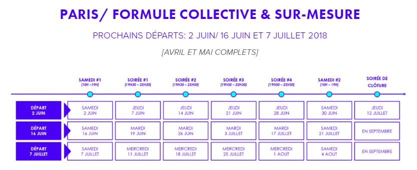 tableau des cours de switch collective à Paris