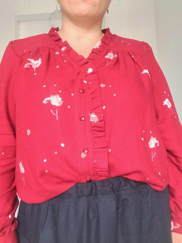 zoom sur le joli devant de la blouse !
