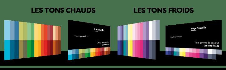 les nuanciers des deux gammes, dans le cadre d'un test de colorimétrie