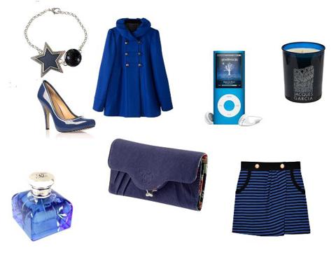 Shopping bleu pour Noël