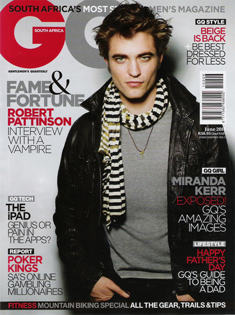 Robert Pattinson en couverture de GQ