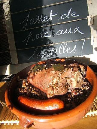 Recette jarret de porc aux lentilles vertes - Marie Claire