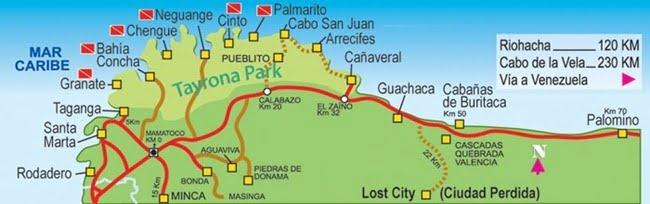 carte randonnée parc naturel tayrona colombie