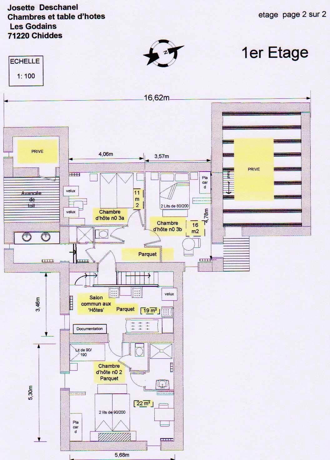 Plan chambre dhote1er Etage