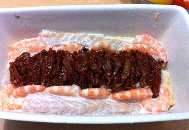 Terrine aux trois poissons, crevettes, tomates séchées et lait de coco LGY 02