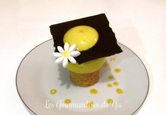 Sphère exotique sur sablé amande et couronne de chocolat noir LGY