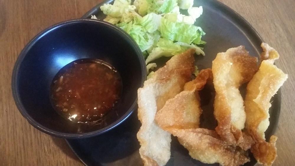 Raviolis frits au poulet & crevette.