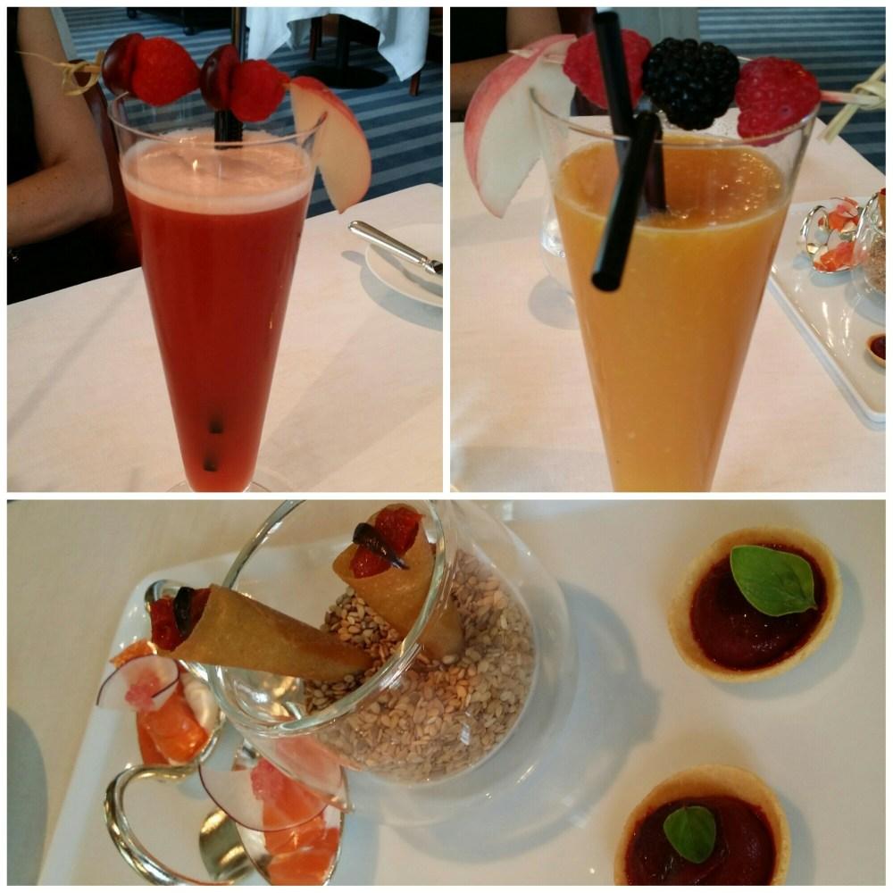 Tartelettes betterave. Cornet aubergines. Saumon fumé raifort, radis et citron caviar. Cocktails de fruits frais.
